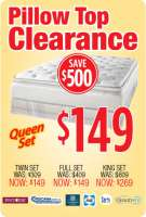 $149 Pillow Top Clearance