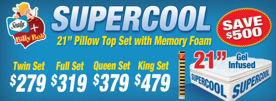 "Supercool - 21"" Pillow Top Set with Memory Foam"
