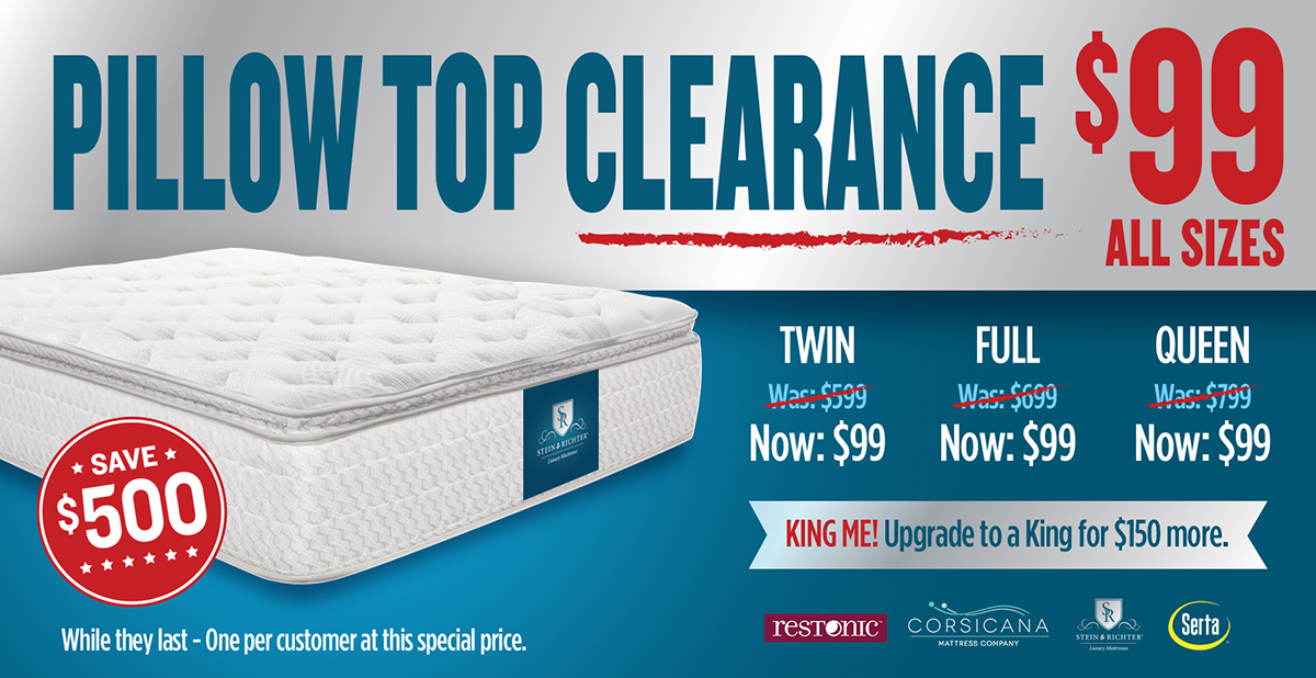 $99 Pillow Top Clearance
